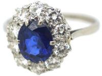 Mid-Century Platinum Sapphire & Diamond Cluster Ring