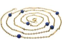 Edwardian 9ct Gold, Lapis Lazuli & Pearl Chain