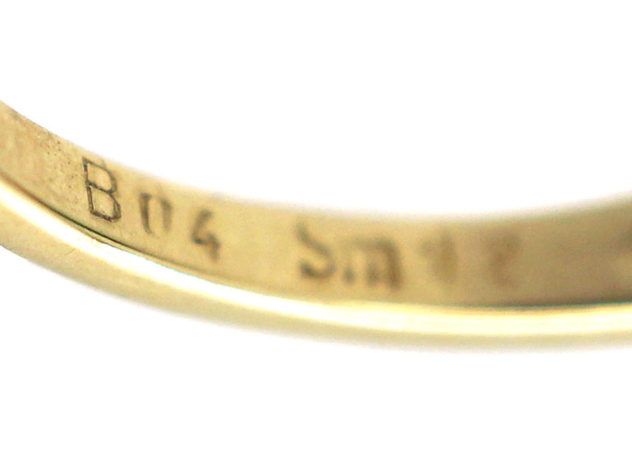 14ct Gold Diamond & Emerald Three Stone Rub Over Set Ring