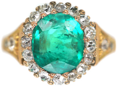 Victorian 18ct Gold, Emerald & Diamond Ring