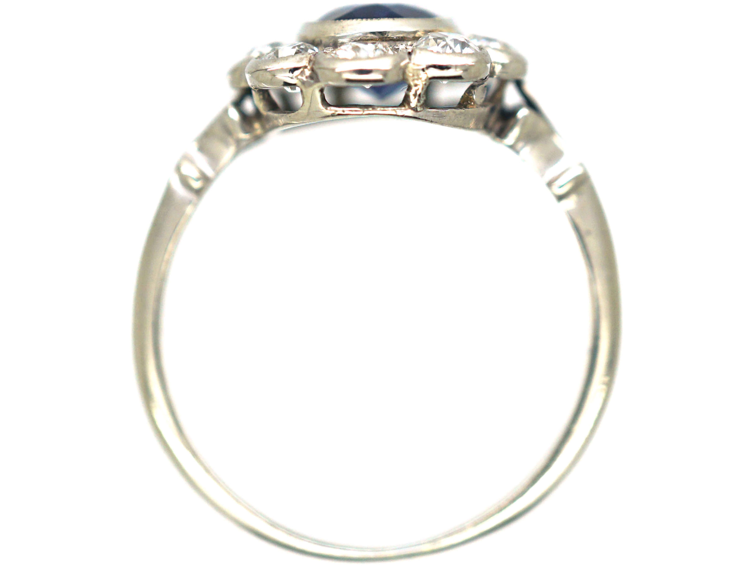 Art Deco Platinum, Sapphire & Diamond Cluster Ring