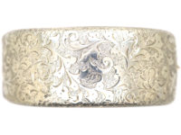 Victorian Wide Silver Engraved Bangle