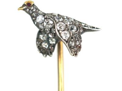 Edwardian Diamond Set Grouse in Flight Tie Pin