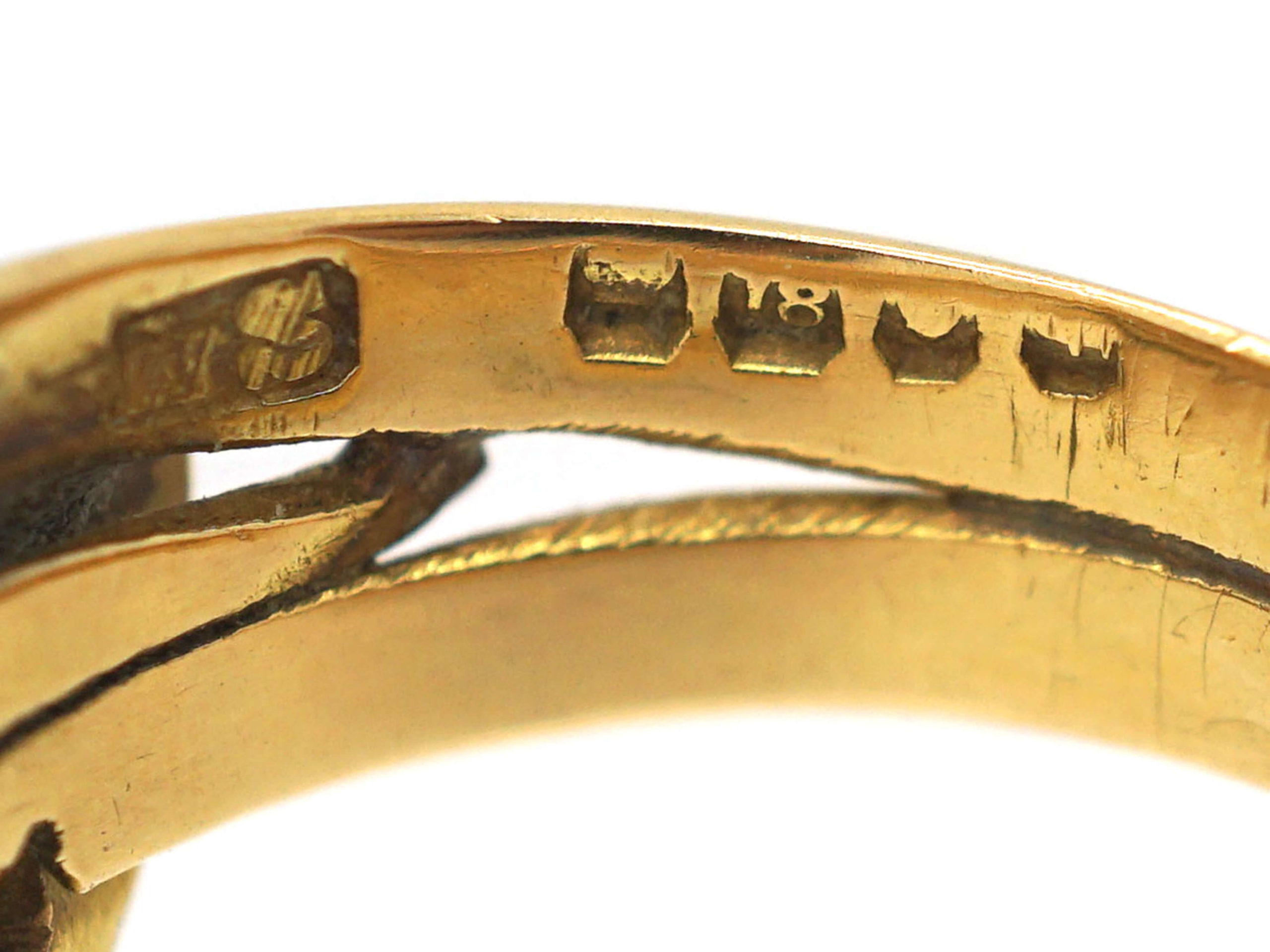 Victorian 18ct Gold Double Snake Ring set with Diamonds
