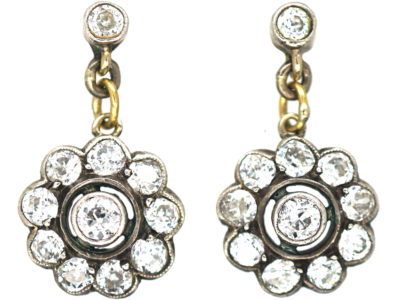 Edwardian Platinum & Diamond Drop Cluster Earrings