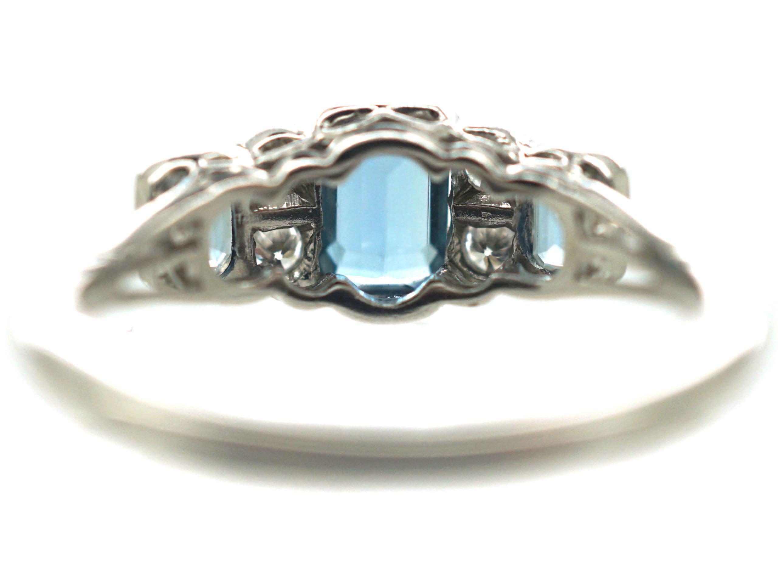 18ct White Gold, Aquamarine & Diamond Ring