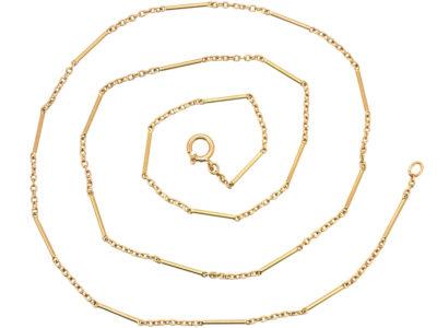 Edwardian 14ct Gold Baton & Trace Link Chain