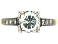 Art Deco Platinum & 18ct Gold Diamond Solitaire with Diamonds shoulders