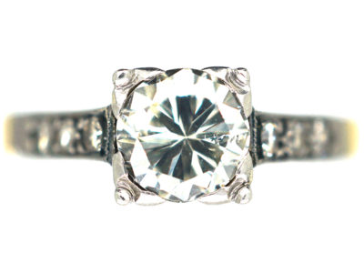 Art Deco Platinum & 18ct Gold Diamond Solitaire with Diamonds shoulders