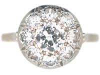 French Art Deco Platinum, Diamond Set Bombé Cluster Ring