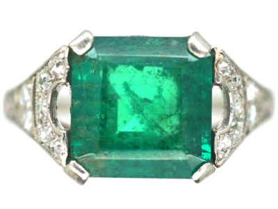 Art Deco Platinum, Emerald & Diamond Ring