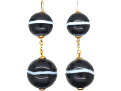 Victorian 15ct Gold & Banded Sardonyx Earrings