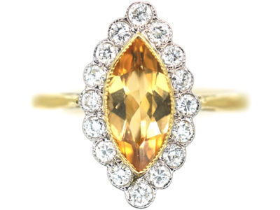 18ct Gold Topaz & Diamond Marquise Shaped Ring