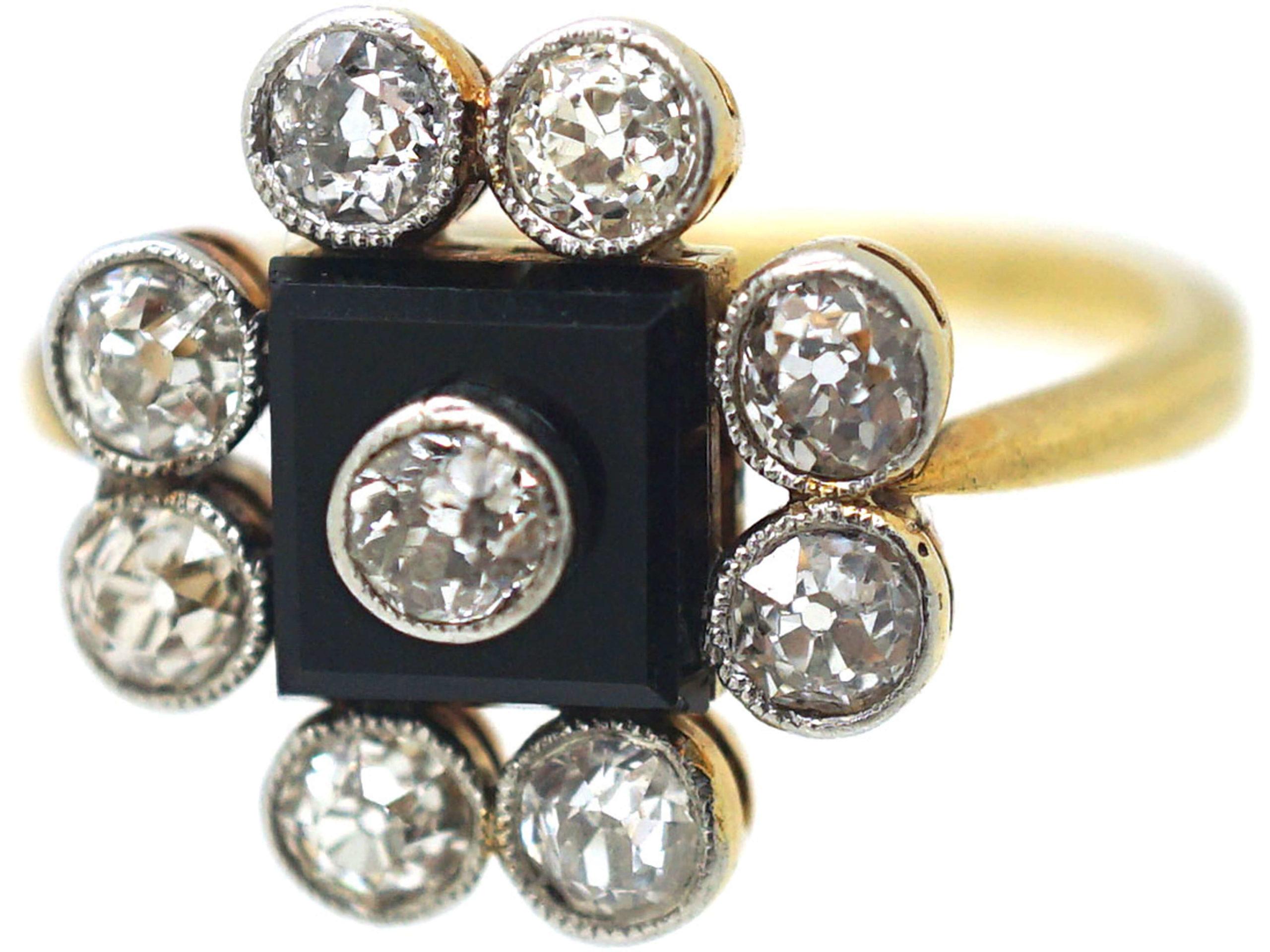 Art Deco 18ct Gold & Platinum, Onyx & Diamond Ring