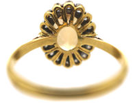 18ct Gold, Topaz & Diamond Oval Cluster Ring