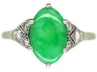 Art Deco 18ct White Gold & Platinum, Jade & Diamond Ring