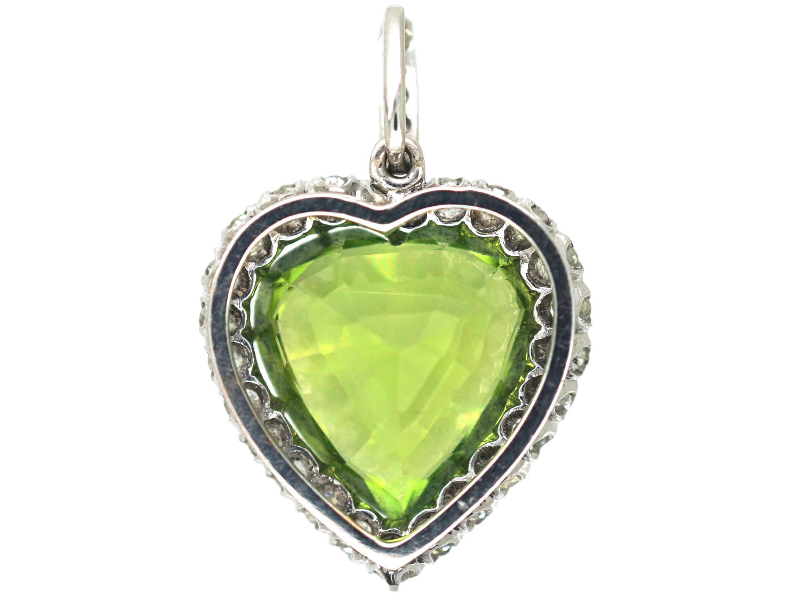Edwardian Platinum, Peridot & Diamond Heart Pendant