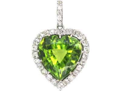Edwardian Platinum, Peridot & Diamond Heart Pendant
