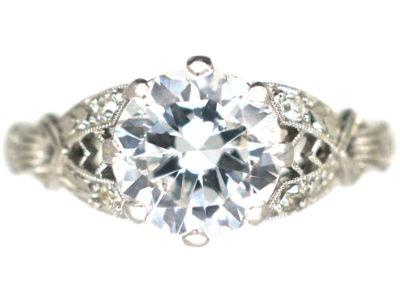 Art Deco Platinum Diamond Solitaire Ring
