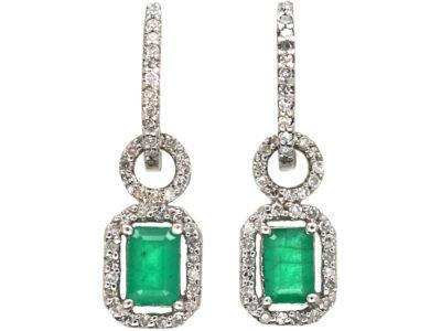 18ct White Gold, Emerald & Diamond Drop Earrings