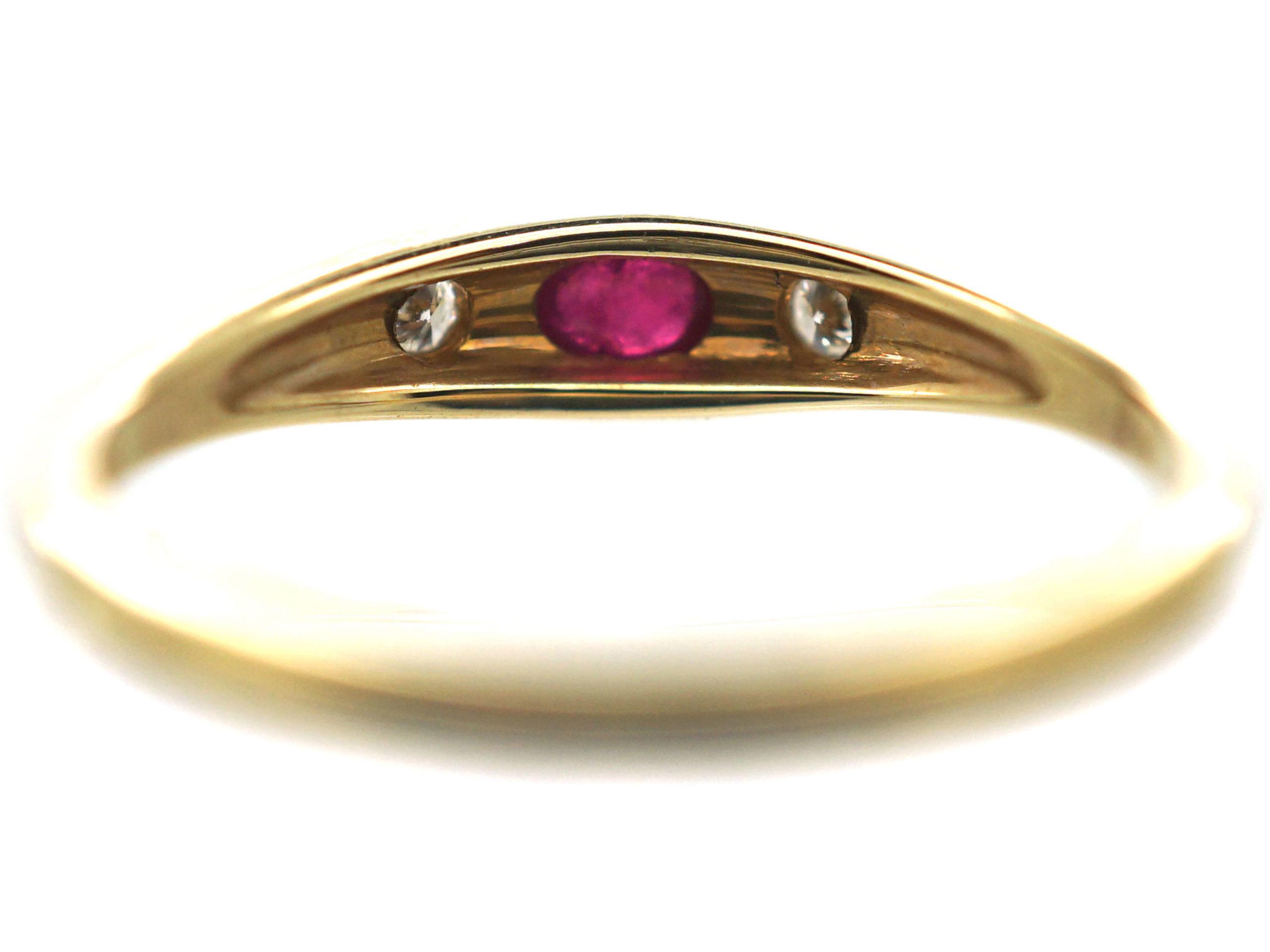 14ct Gold Ruby & Diamond Three Stone Rub Over Set Ring