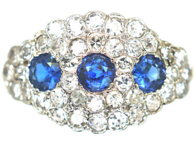 18ct Gold & Platinum Three Stone Sapphire & Diamond Cluster Ring