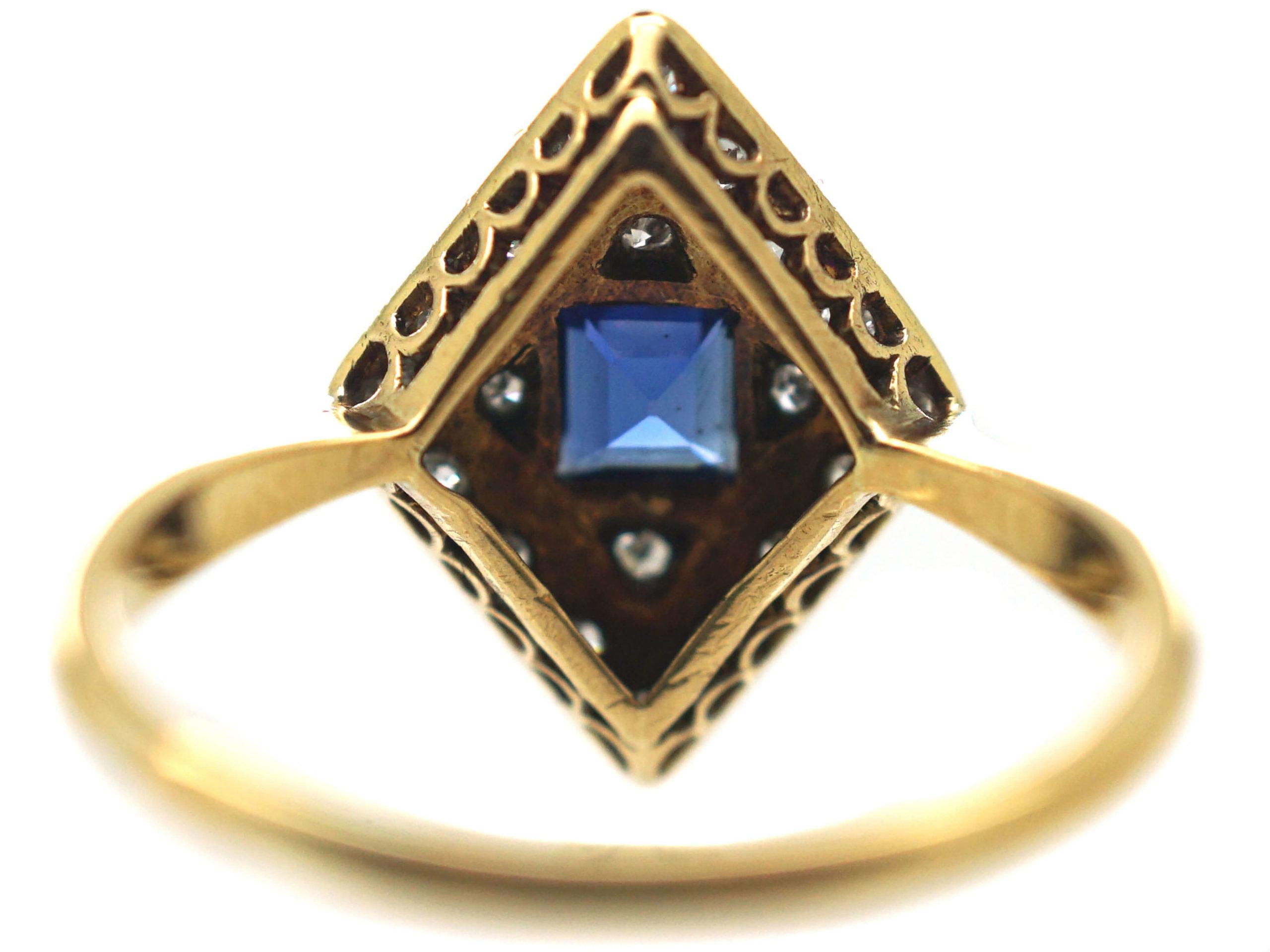Art Deco 18ct Gold & Platinum, Diamond Shape Sapphire & Diamond Ring
