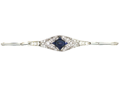 Art Deco 14ct Gold & Platinum, Cabochon Sapphire & Diamond Bracelet