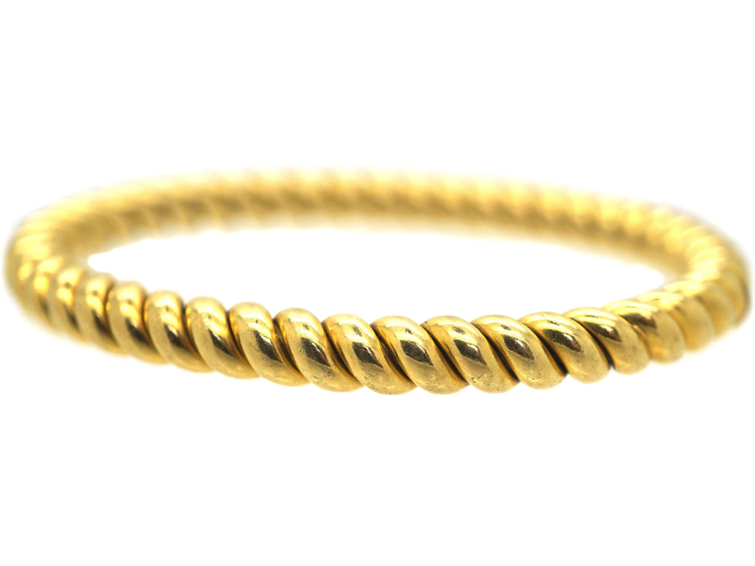 Edwardian 18ct Gold Twist Design Bangle