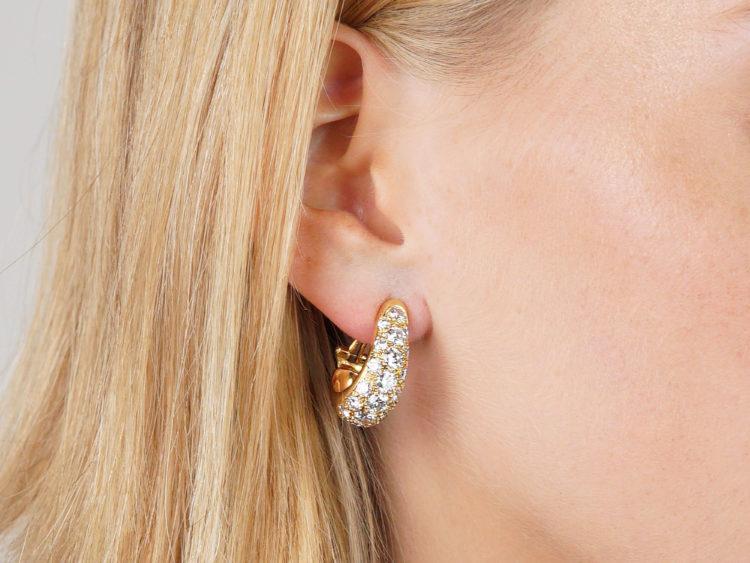 Retro 18ct Gold Diamond Set Hoop Earrings