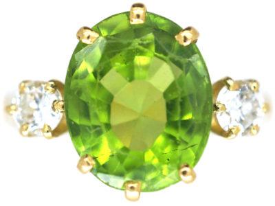18ct Gold Peridot & Diamond Ring