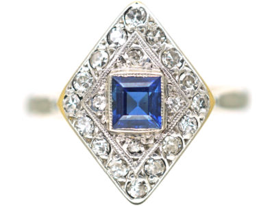 Art Deco 18ct Gold & Platinum, Diamond Shape Sapphire & Diamond Ring