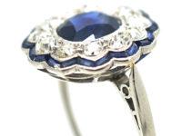 Art Deco Platinum, Diamond & Sapphire Cluster Ring