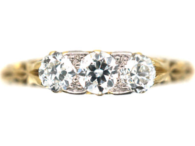Edwardian 18ct Gold Three Stone Diamond Carved Half Hoop Ring