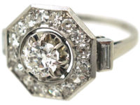 French Art Deco Platinum Octagonal Shaped Diamond Ring