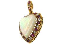 Edwardian 18ct Gold Heart Shaped Opal Diamond & Ruby Pendant