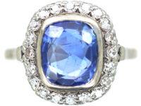 Art Deco Platinum, Sapphire & Diamond Ring