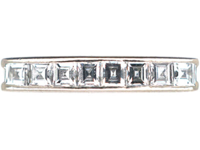 Art Deco 18ct White Gold, Diamond Half Hoop Eternity Ring