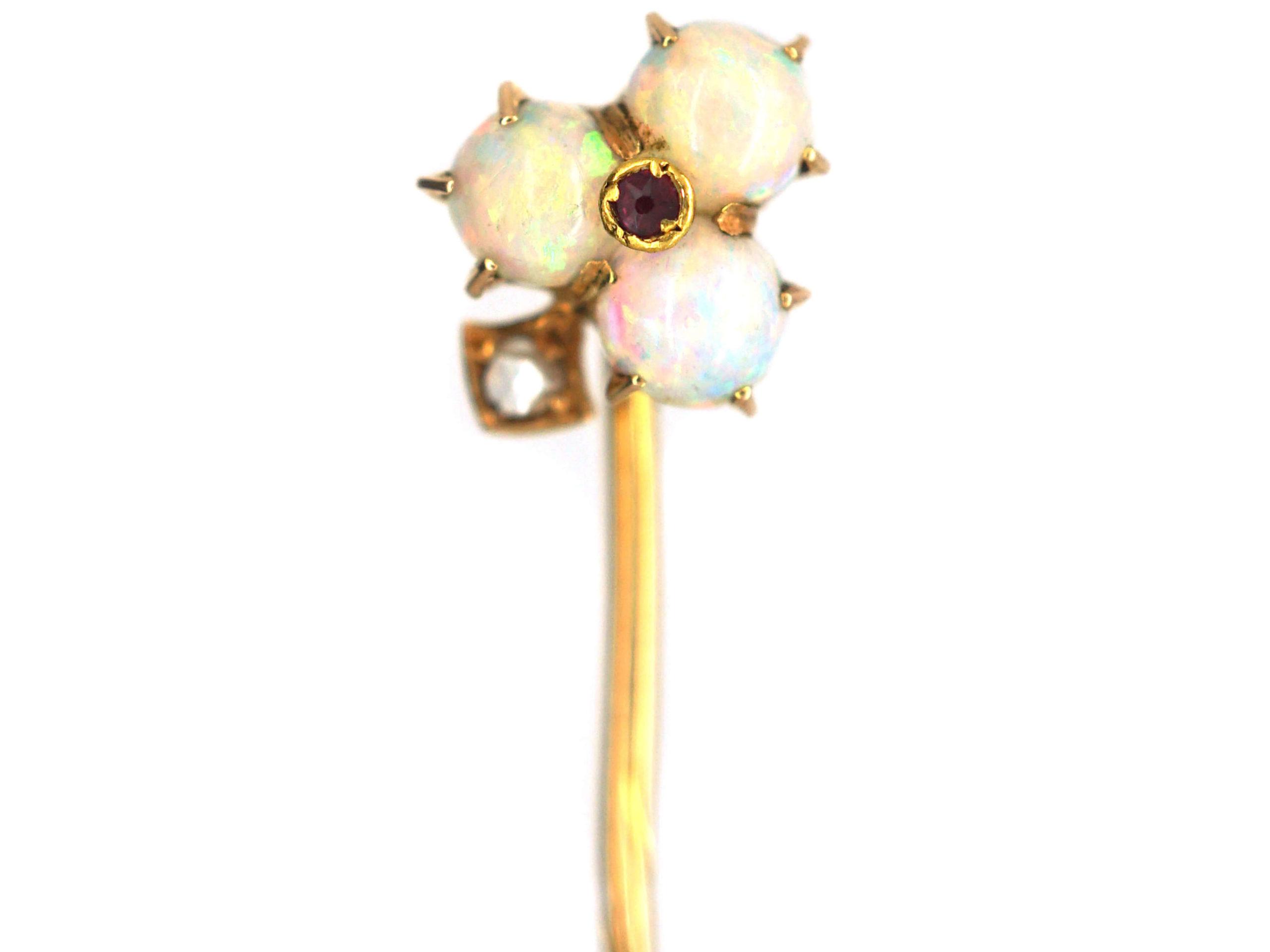 Edwardian 15ct Gold Opal, Ruby & Rose Diamond Trefoil Tie Pin