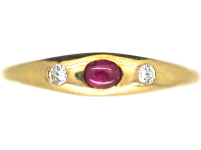 14ct Gold Ruby & Diamond Three Stone Rub Over Set Ring