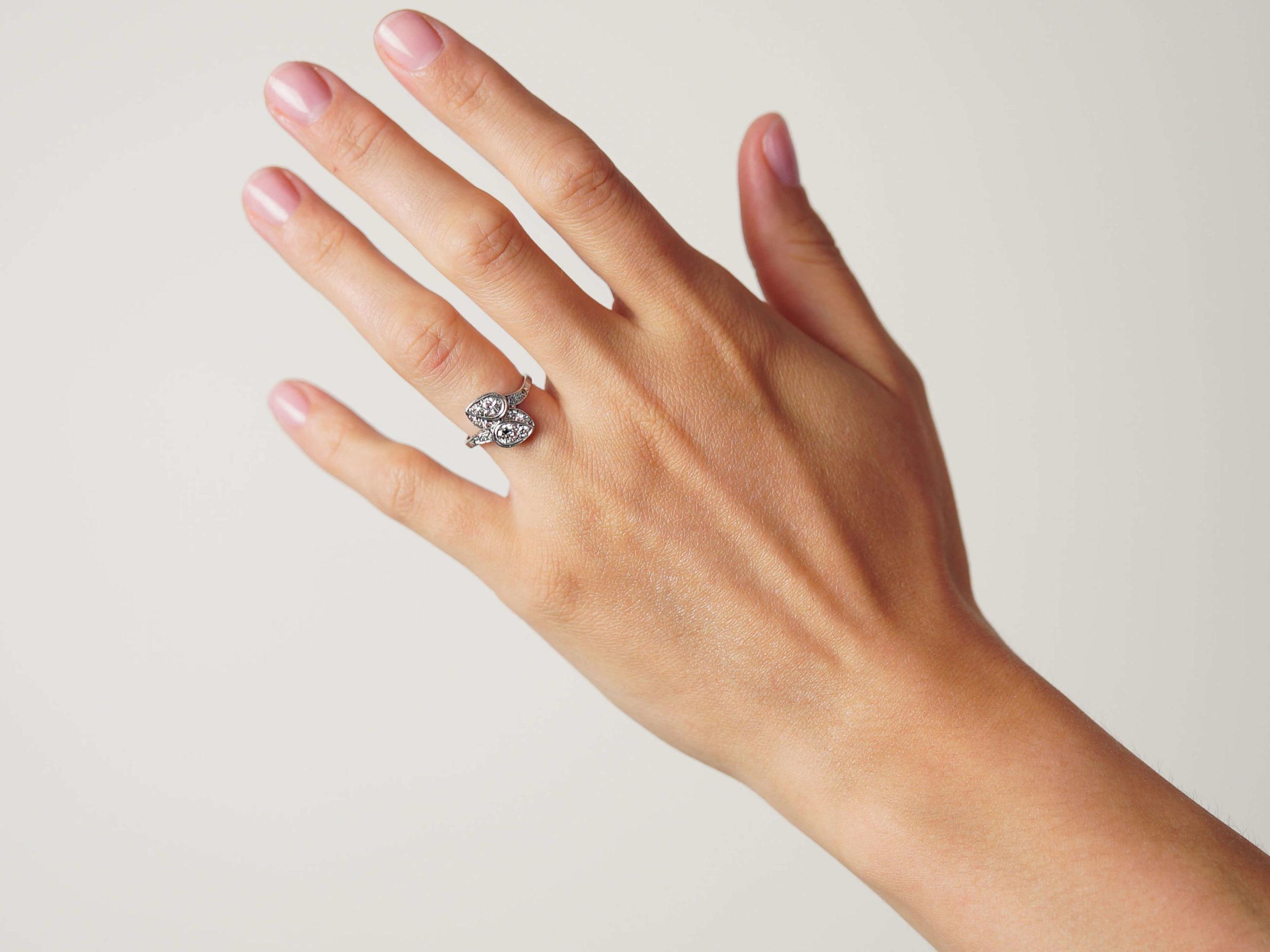 Art Deco Platinum & Iridium, Diamond Two Leaf Crossover Ring