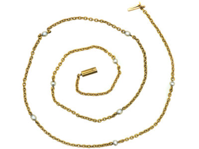 Edwardian 15ct Gold & Natural Pearl Chain