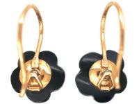Edwardian 18ct Gold, Onyx & Natural Split Pearl Flower Earrings