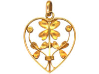 French Belle Epoque 18ct Gold Heart Pendant set with Natural Pearls