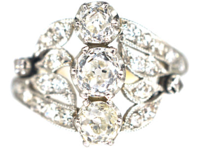Belle Epoque 18ct Gold & Platinum Diamond Three Stone Ring with Leaf Shoulders