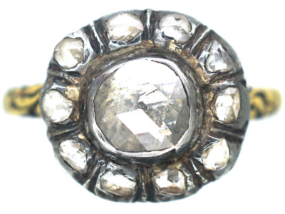 Stuart Rose Diamond Cluster Ring with Black Enamel Detail
