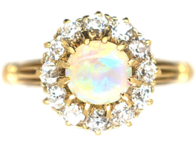 Edwardian 18ct Gold Opal & Diamond Cluster Ring