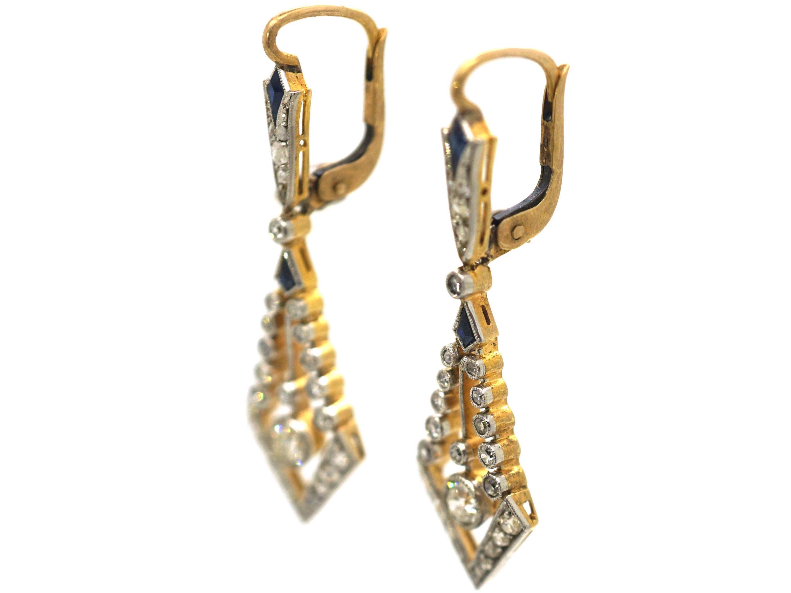 Art Deco 18ct Gold & Platinum, Sapphire & Diamond Drop Earrings
