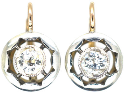 Art Deco 18ct Gold & Platinum, Diamond Earrings
