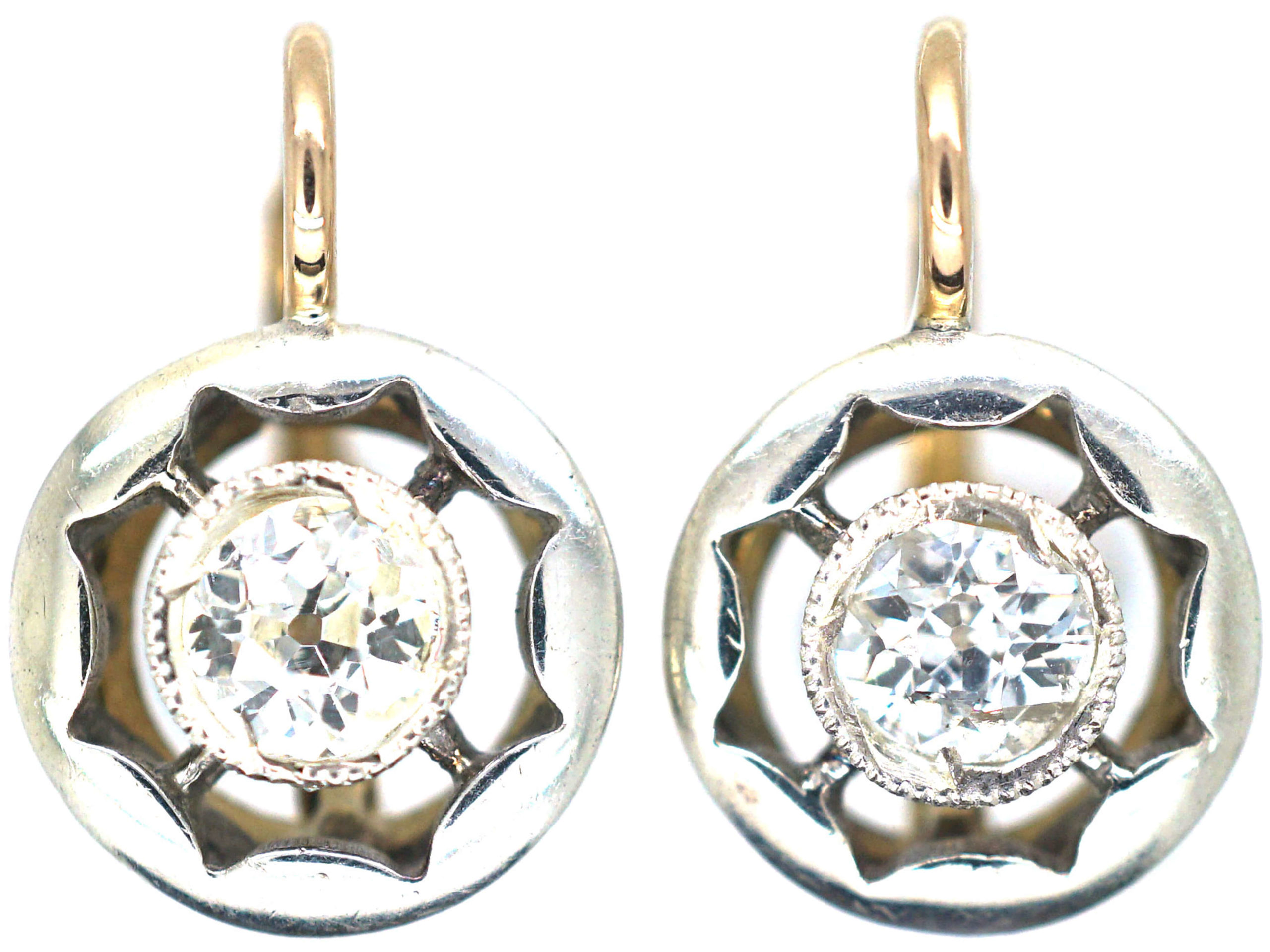 18ct Gold Platinum Diamond Earrings